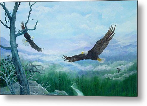 Eagles;birds;river Valley;mountains;sky; Metal Print featuring the painting Soaring by Lois Mountz