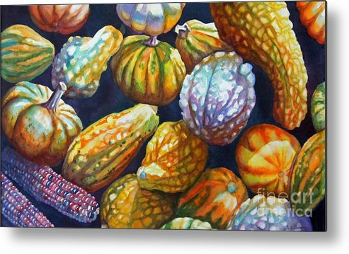 Still Life Metal Print featuring the painting Squash by Gail Zavala