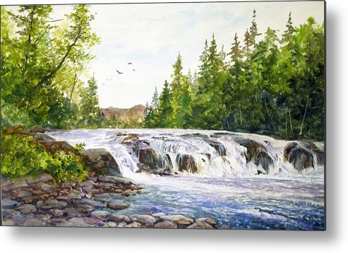 Watercolor;waterfalls;water;river;rocks;adirondacks;summer; Metal Print featuring the painting Summer At Buttermilk Falls by Lois Mountz