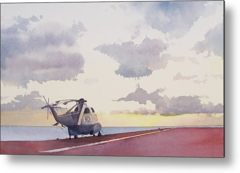 Navy Metal Print featuring the painting Sunrise Uss John F. Kennedy by Philip Fleischer