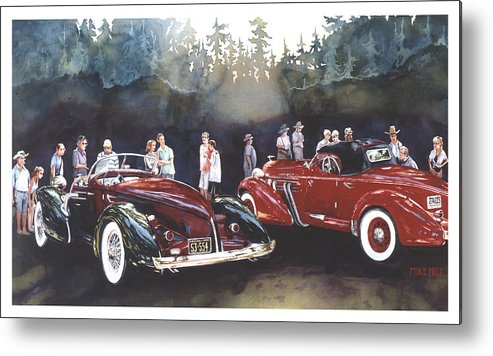Auburn Speedster Car Automobile Red Maroon Collector Classic Antique Concours Sunset Trees Woods Metal Print featuring the painting Tails Of Two Pretties by Mike Hill