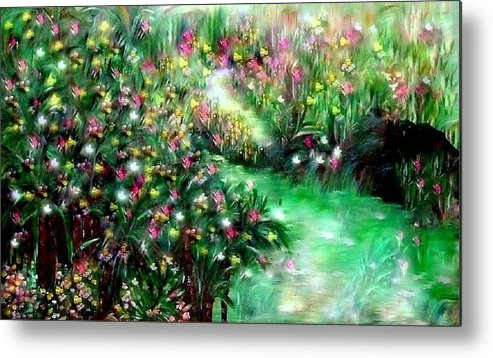 Garden Metal Print featuring the painting The Magical Garden by Sherri's - Of Palm Springs