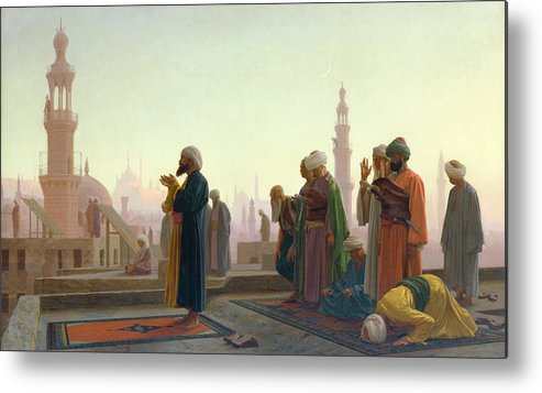 The Metal Print featuring the painting The Prayer by Jean Leon Gerome