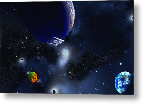 Scifi David Jackson Alienvisitor Space To Boldly Go Metal Print featuring the digital art To Boldly Go by David Jackson