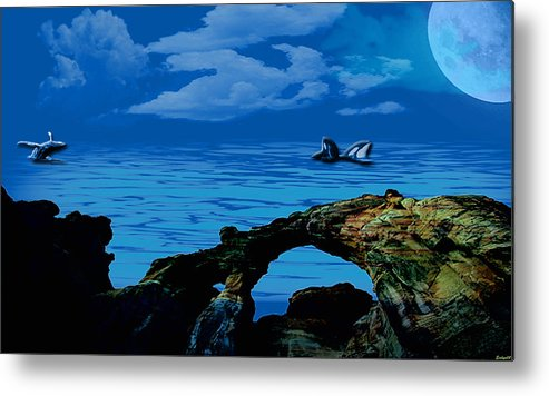 Ocean Metal Print featuring the painting Whales Tales by Evelyn Patrick