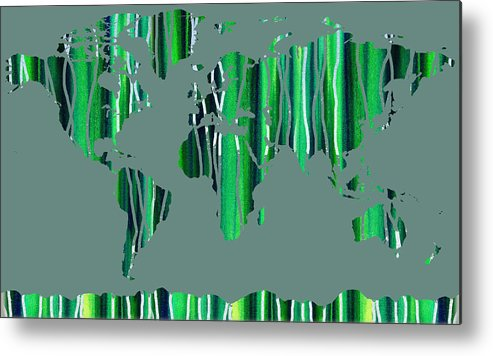 Green Metal Print featuring the painting Watercolor Silhouette World Map Colorful Png Xxviii by Irina Sztukowski