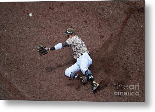 Second Inning Metal Print featuring the photograph Christian Villanueva And Brandon Belt by Denis Poroy
