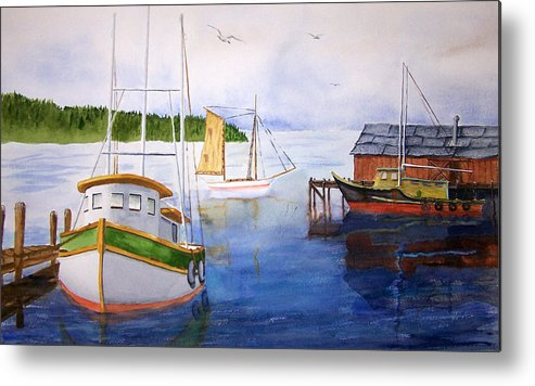 Puget Sound Metal Print featuring the painting After The Fishing Is Done by Robert Thomaston
