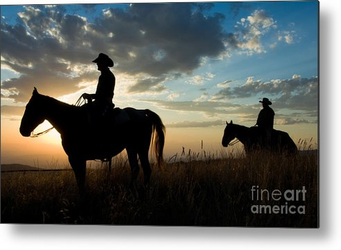 Cowboy Metal Print featuring the photograph Cowboys by John Shaw