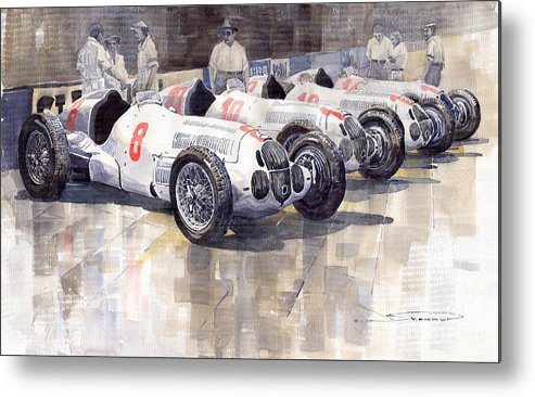 Watercolour Metal Print featuring the painting 1937 Monaco Gp Team Mercedes Benz W125 by Yuriy Shevchuk