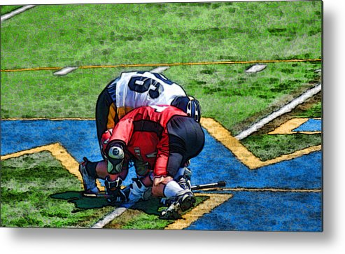Sports Prints Metal Print featuring the photograph Battling For The Ball by Joe Bledsoe