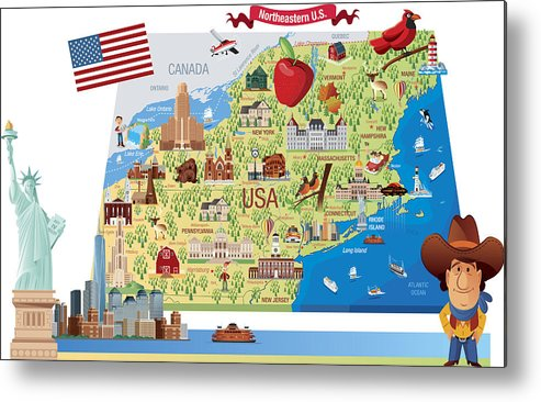 Cartoon Map Of Northeastern Us Metal Print By Drmakkoy - Cartoon-map-of-the-us