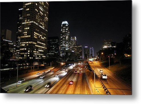 Los Angeles Metal Print featuring the photograph City At Night - Los Angeles by David Buchan