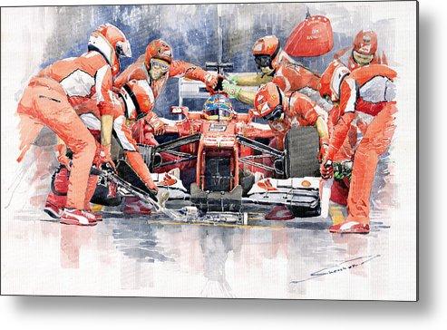 Automotive Metal Print featuring the painting 2012 Ferrari F 2012 Fernando Alonso Pit Stop by Yuriy Shevchuk