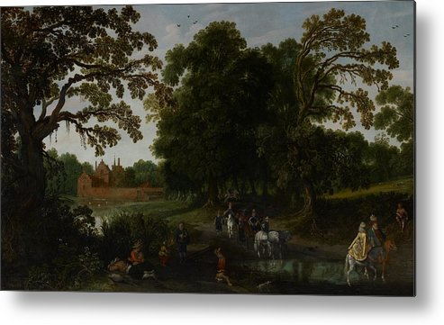 Landscape Metal Print featuring the painting Landscape With A Courtly Procession Before Abtspoel Castle by Esaias I van de Velde