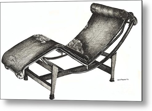 Chaise Longue Metal Print featuring the drawing Leather Chaise Longue by Adendorff Design