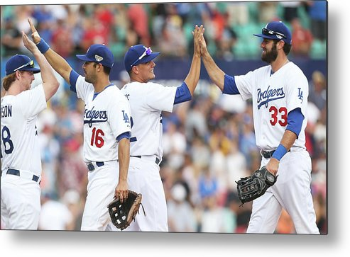 Celebration Metal Print featuring the photograph Los Angeles Dodgers V Arizona by Mark Metcalfe