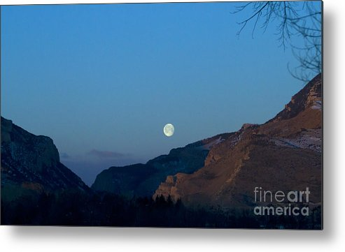Mountain Metal Print featuring the photograph Moon Over Rattlesnake Mountain  #2785 by J L Woody Wooden