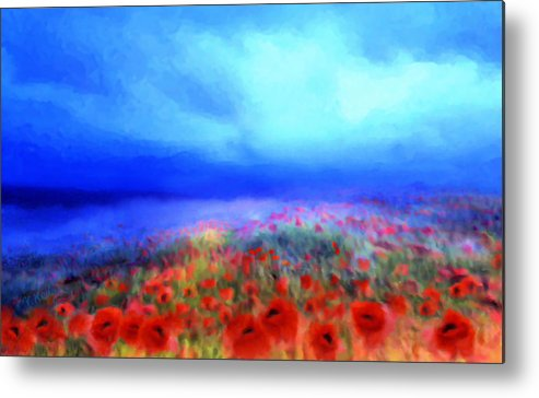 Floral Art Metal Print featuring the mixed media Poppies In The Mist by Valerie Anne Kelly