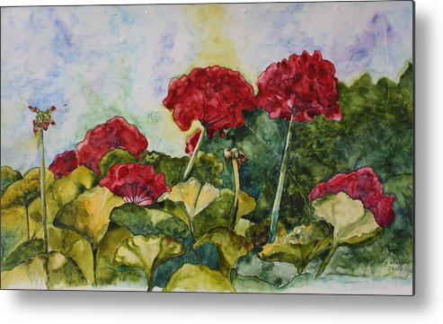 Red Geraniums Metal Print featuring the painting Red Geraniums by Patsy Sharpe