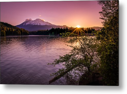 California Metal Print featuring the photograph Sunrise Over Lake Siskiyou And Mt Shasta by Scott McGuire