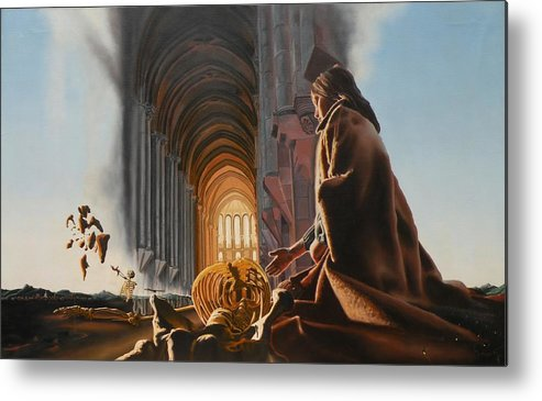 Surreal Metal Print featuring the painting Surreal Cathedral by Dave Martsolf