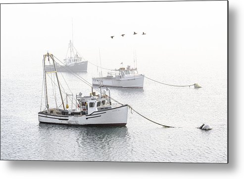 Three Boats Moored In Soft Morning Fog Metal Print featuring the photograph Three Boats Moored In Soft Morning Fog by Marty Saccone
