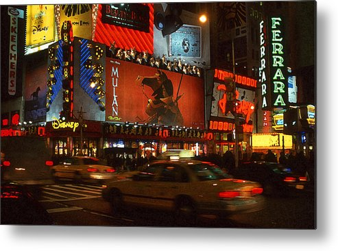 New York Metal Print featuring the photograph Times Square At Night by Anthony Dalton