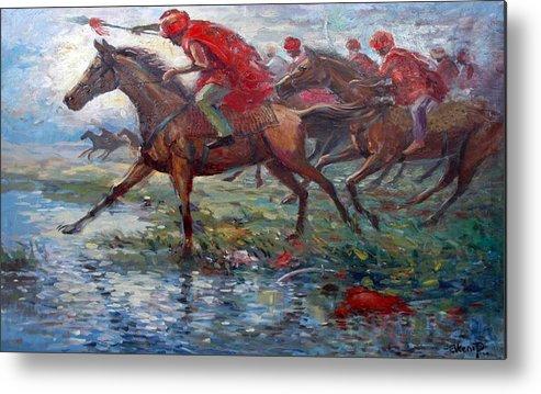 War Metal Print featuring the painting Warriors In Return by Prosper Akeni