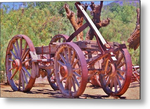 Cart Metal Print featuring the photograph Wooden Cart by Marilyn Diaz