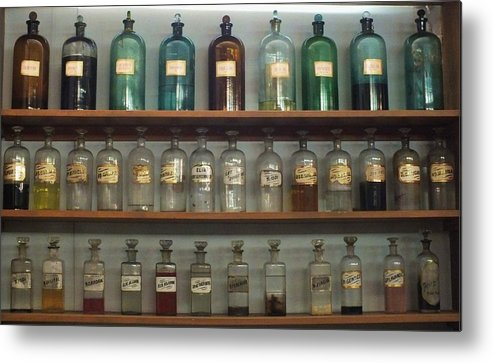 Antique Bottles Metal Print featuring the photograph Apocethary Jars by Anna Villarreal Garbis