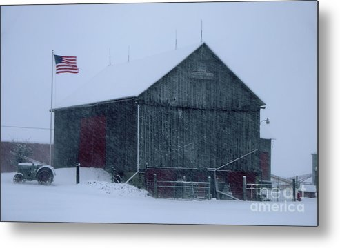 Barn Metal Print featuring the photograph Barn In Winter by Ronald Grogan