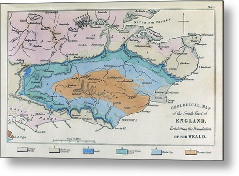 Map Of The South Of England.Geological Map South East England 1830s Metal Print