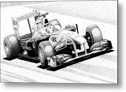 Formula One Racing Metal Print featuring the mixed media Kamui's Kart by Lyle Brown