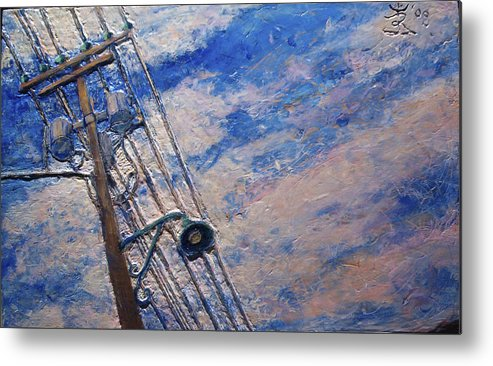 Metal Print featuring the painting Lamp Post Lachine Canal by JE Raddatz