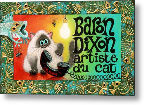 Cat Metal Print featuring the painting Neocatism Bizcard by Baron Dixon