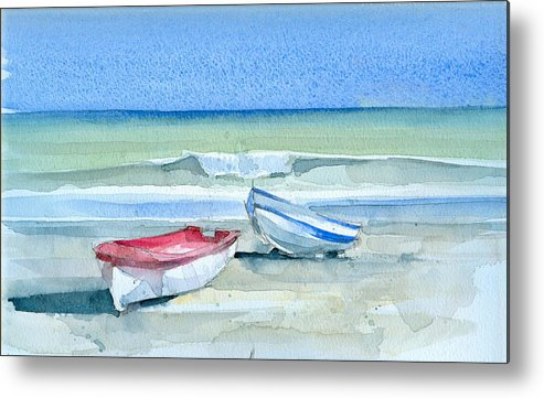 Sea Metal Print featuring the painting Sabinillas Fishing Boats by Stephanie Aarons