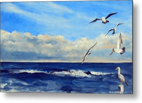 Sea Gull Metal Print featuring the painting Sea Gulls by Robert Harvey