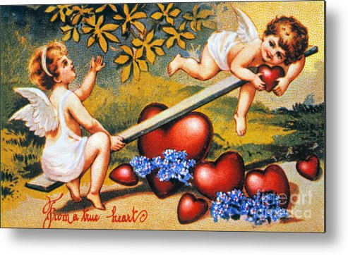 1900 Metal Print featuring the photograph Valentines Day Card by Granger