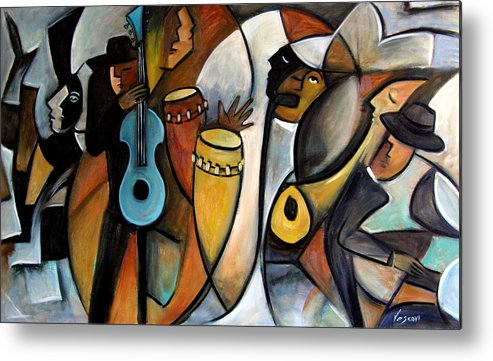 Latin Jazz Musicians Metal Print featuring the painting Jazzz by Valerie Vescovi