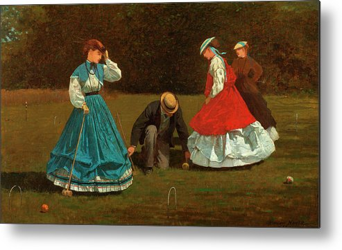 Croquet Scene Metal Print featuring the painting Croquet Scene by Winslow Homer