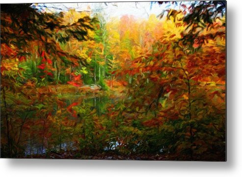 Landscape Metal Print featuring the painting Nature Landscape Lighting by World Map