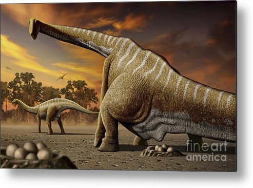 Horizontal Metal Print featuring the digital art A Female Apatosaurus Laying Her Eggs by Mohamad Haghani