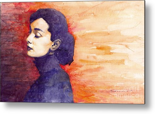 Watercolour Metal Print featuring the painting Audrey Hepburn 1 by Yuriy Shevchuk