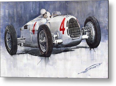 Auto Metal Print featuring the painting Auto Union C Type 1937 Monaco Gp Hans Stuck by Yuriy Shevchuk
