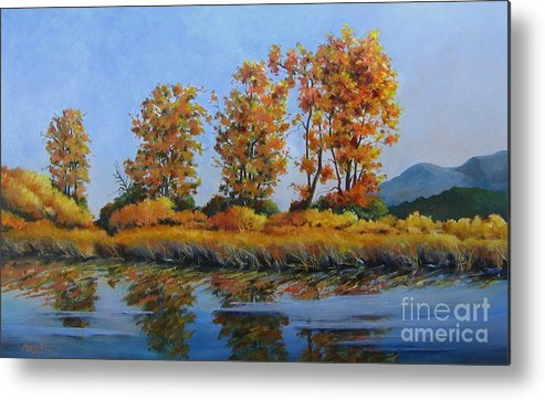 Landscape Metal Print featuring the painting Autumn At Fraser Valley by Marta Styk