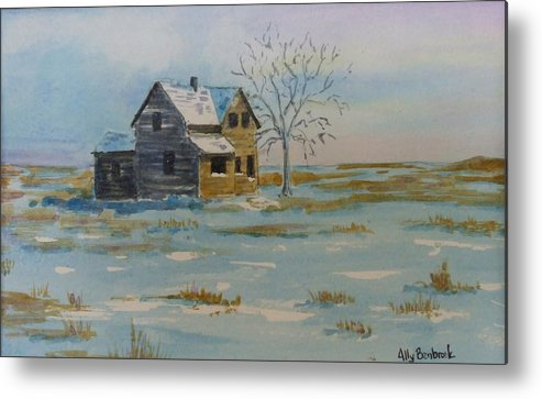 Abandoned Metal Print featuring the painting Barren Prairie by Ally Benbrook