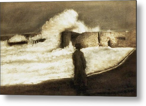 Pastel Metal Print featuring the drawing Biarritz 1909 by Mushtaq Bhat