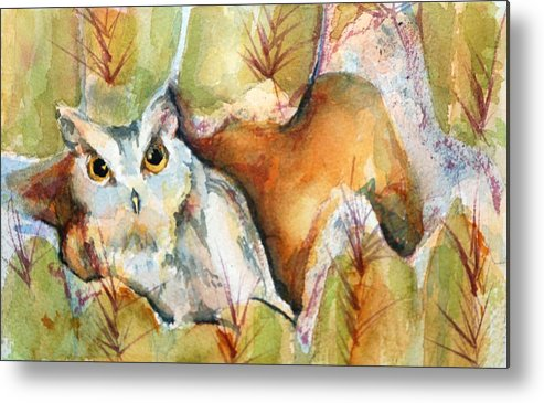 Watercolor Metal Print featuring the painting Cactus Owl by Donna Pierce-Clark