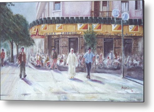 Landscape Metal Print featuring the painting Cafe Zanzibar. Fez by Karim Baziou